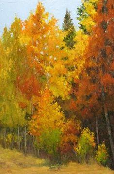 "Contemporary Artists of Colorado: ""Grand Mesa Aspens"" Original Aspen Tree Landscape Oil Painting by Western Colorado Artist Barbara Churchle..."