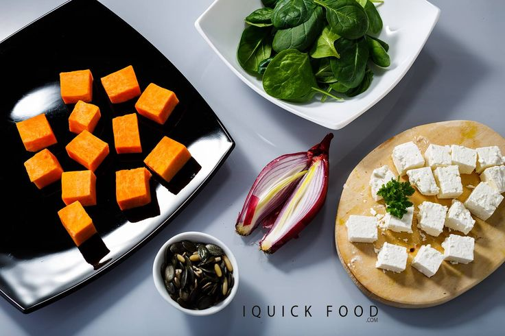 Baby spinach salad with pumpkin and much more. A healthy baby spinach salad dressed up with fresh feta roasted pumpkin and toasted pumpkin seeds. #pumpkin #feta #spinach #babyspinach #salad