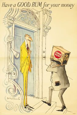 Ronald Searle poster: Have a GOOD RUM for your money - Lemon Hart