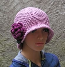 Ladies Pink Chemo Hat with Rose Flower in 100% Bamboo - Perfect for Summer