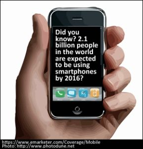 2.1 billion people in the world are expected to be using #SmartPhones by 2016