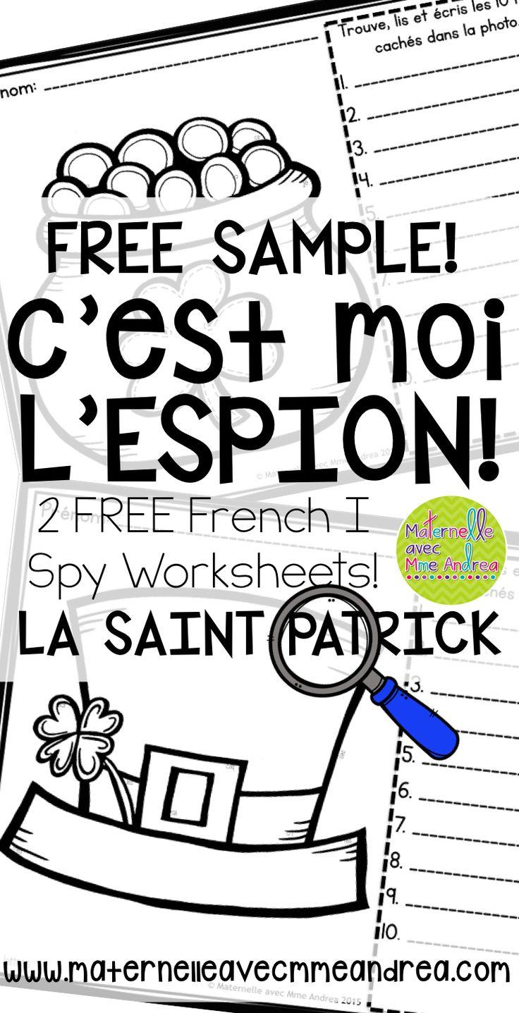 GRATUIT! 2 FREE FRENCH I Spy worksheets | 2 feuilles de travail gratuites | La Saint-Patrick | trouve, lis, écris | decoding practice | maternelle
