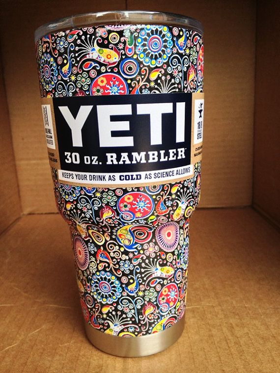 Hydro Dipped Yeti Cup  Paisley by BayouCityGraphics on Etsy