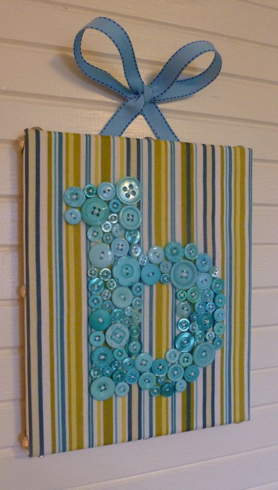 Button Monogram Canvas Letter Art For Baby Nursery, Home or Office -- Your Choice Fabric and Button Color via Etsy
