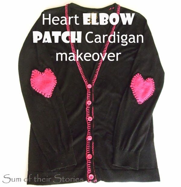 Heart elbow patch cardigan makeover crafts heart for Elbow patch template