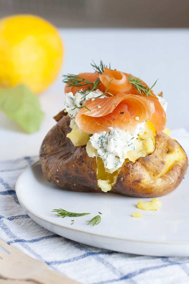 Smoked salmon and mascarpone jacket potato singly for Jacket potato fillings mushroom