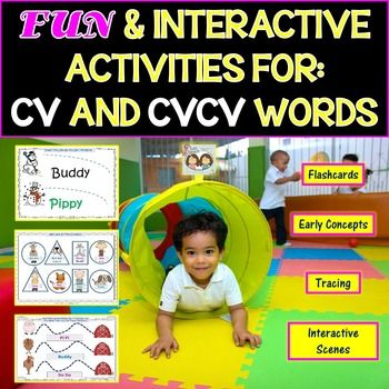 """This is a 91 page packet that covers a wide range of CV and CVCV words and Pre-k concepts. We have included a wide variety of activities, worksheets and games. The pictures are kid friendly, colorful and super fun! We hope it becomes your """"go to"""" packet for"""