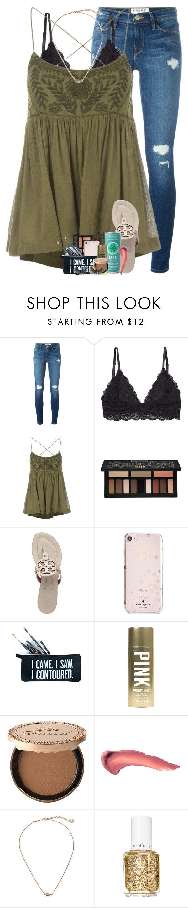 """it's only a matter of time before you begin to believe the lies people tell about you"" by theblonde07 ❤ liked on Polyvore featuring Frame, Free People, Kat Von D, Tory Burch, Kate Spade, SugarLuxeShop, Victoria's Secret, ULTA, Kendra Scott and Essie"