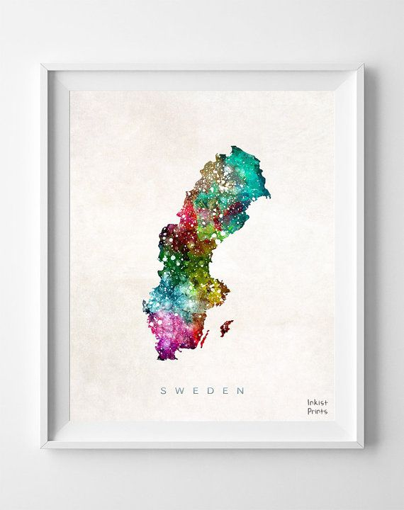 Sweden Watercolor Print - Etsy - $17 (8x10)