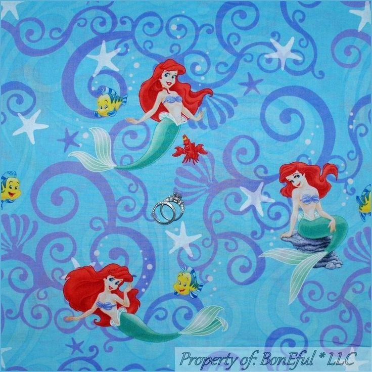 boneful fabric cotton quilt bty 2 yards blue disney little mermaid girl princess ebay disney. Black Bedroom Furniture Sets. Home Design Ideas