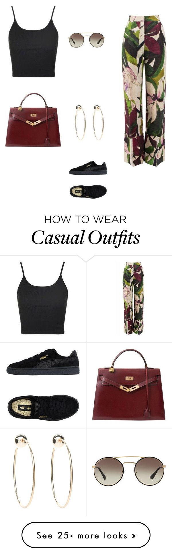 """Casual day outfit"" by liyahh000 on Polyvore featuring Erika Cavallini Semi-Couture, Topshop, Hermès, Bebe, Prada and Puma"