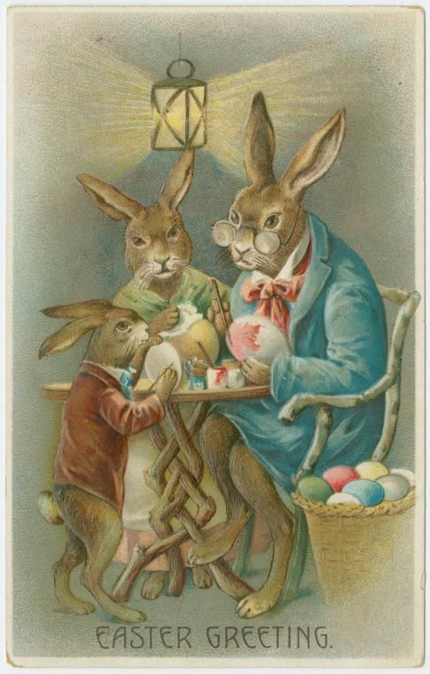 The Easter Rabbit family is hard at work, decorating eggs.
