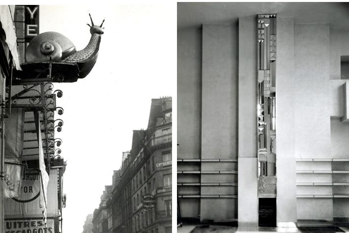 "L: Paris, France, 1925-30.  ""L'Escargot d'Or.""  Golden Snail insignia, advertising that the establishment or shop offers escargot. (snails). R: France, 1927.  Joël and Jan Martel house, 10, rue Mallet-Stevens, Neuilly (today Paris).  Mirror sculpture and fireplace by Joël and Jan Martel (both 1896-1966), sculptors."