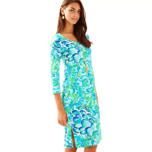 NWT-LILLY-PULITZER-M-XS-Green-Agate-Kenzie-Dress-Lazy-River-Blue-Teal-Lime