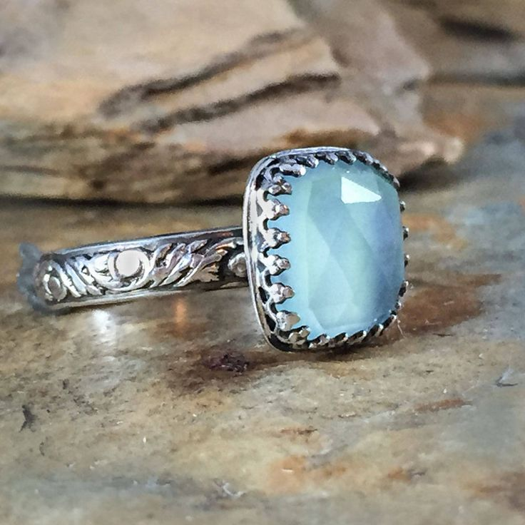 Chalcedony ring, aqua blue gemstone, vintage style sterling silver ring, stacking ring, boho artisan style ring, calming stone, gift ring by NimbleWitchCreative on Etsy