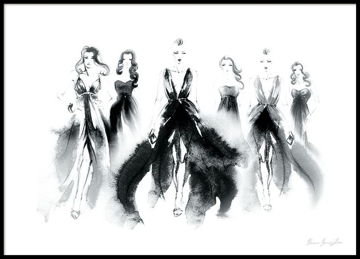 Black and white print of elegant women in dresses on the catwalk, painted in watercolor. Stylish fashion print perfect for trendy interior. Looks absolutely amazing in a black frame and together with some of our other prints with fashion design. www.desenio.co.uk