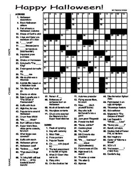 Halloween Crossword Puzzle 15 X 15 - free