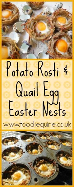 www.foodiequine.co.uk A savoury Easter Egg treat which is perfect for breakfast, brunch or brinner! These bitesized Potato Rosti and Quail Egg Easter Nests taste amazing and are Syn Free on Slimming World.