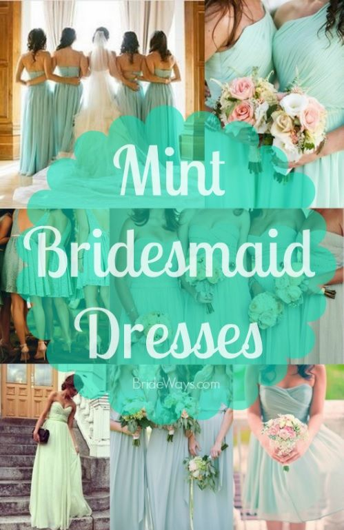 Many Different Styles of Mint Green Colored Bridesmaid Dresses - Popular Color for Spring & Summer Weddings on BrideWays.com