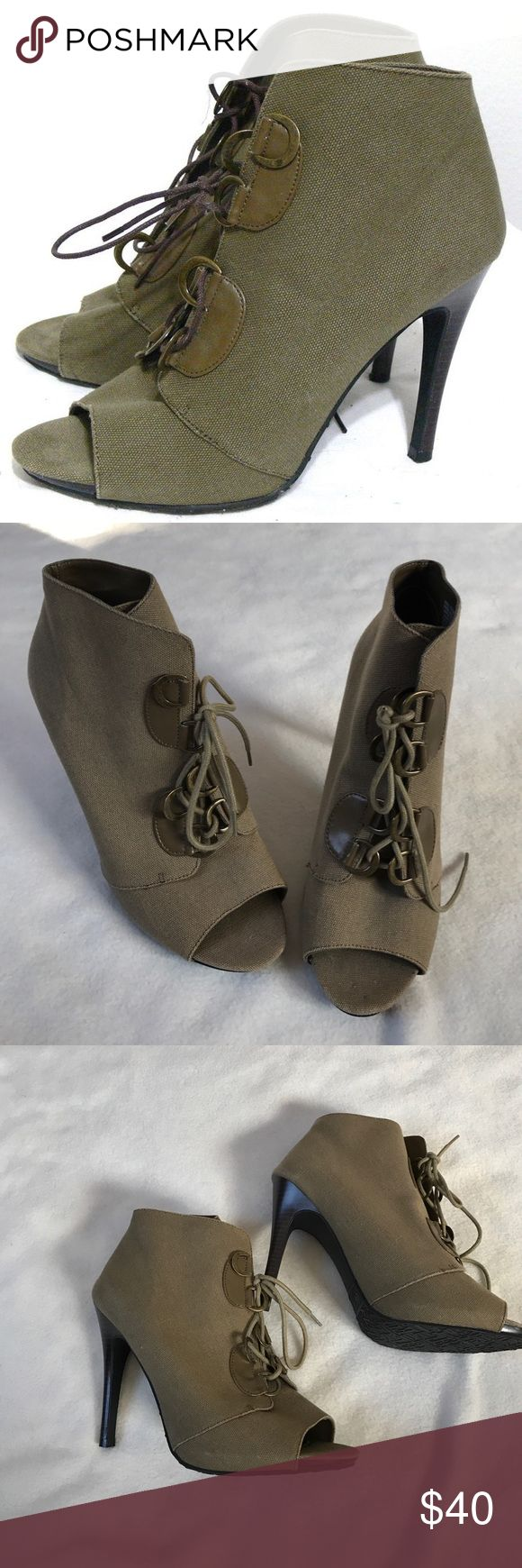 """Elle Vaughn Olive Lace Up Canvas Peep Toe Bootie Olive color. Canvas style. Lace Up ankle. Optic. Peep Toe style. Excellent condition. 4.5"""" Heel. Super cute for all seasons. Bundle 2+ items and get my 20% off bundle discount. Elle Shoes Ankle Boots & Booties"""
