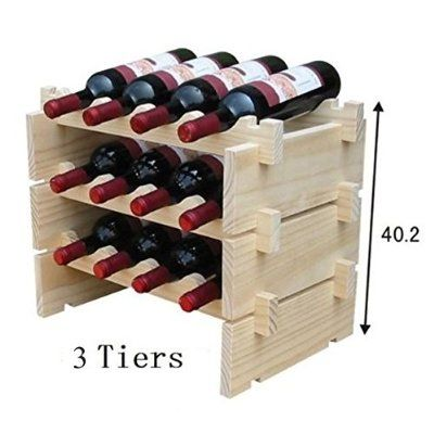 4 Tiers Stackable STRONG Wooden Wines Rack Holds Storage Stand Unit 16 Bottle Capacity