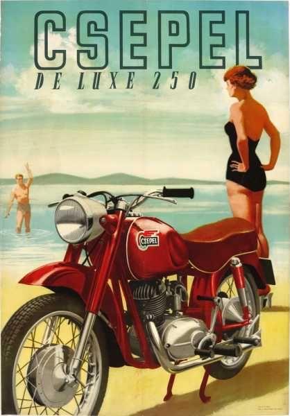 Csepel De Lux 250 motorkerékpár szocreál plakát