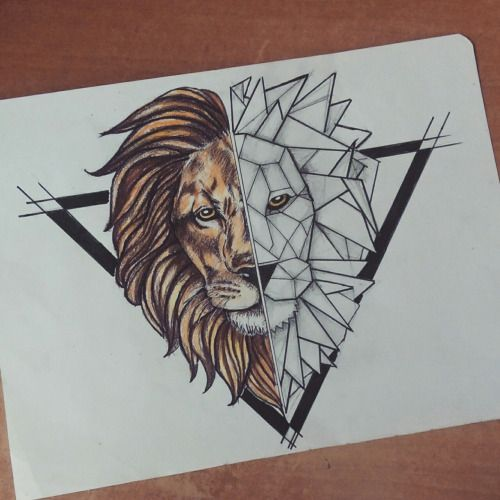 Half-geometric lion head in black triangle frame tattoo design ...