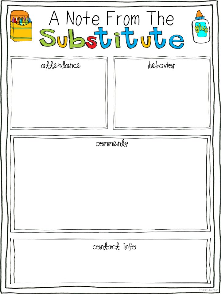 Free Substitute Teacher Report Template | Substitute Teacher Feedback Form