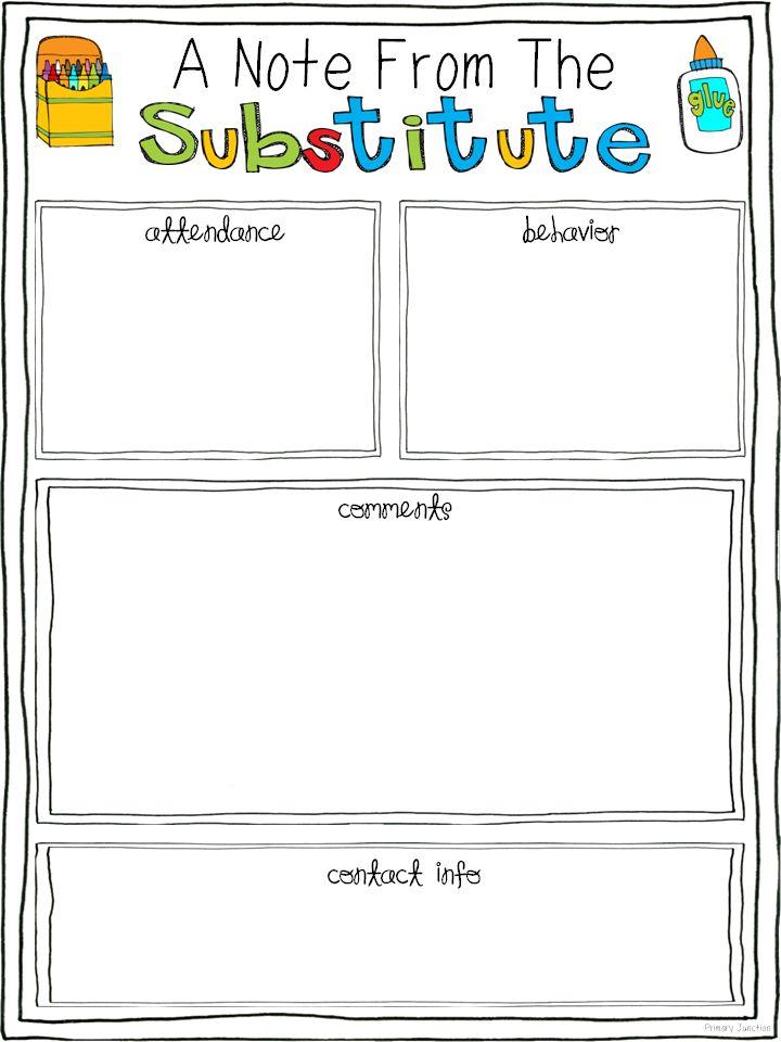 Free Substitute Teacher Report Template | Substitute Teacher Feedback Form