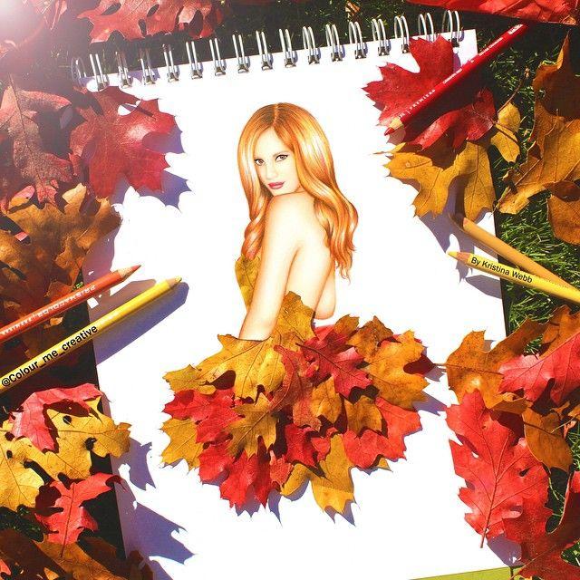 Девушка в листьях картинки рисунки