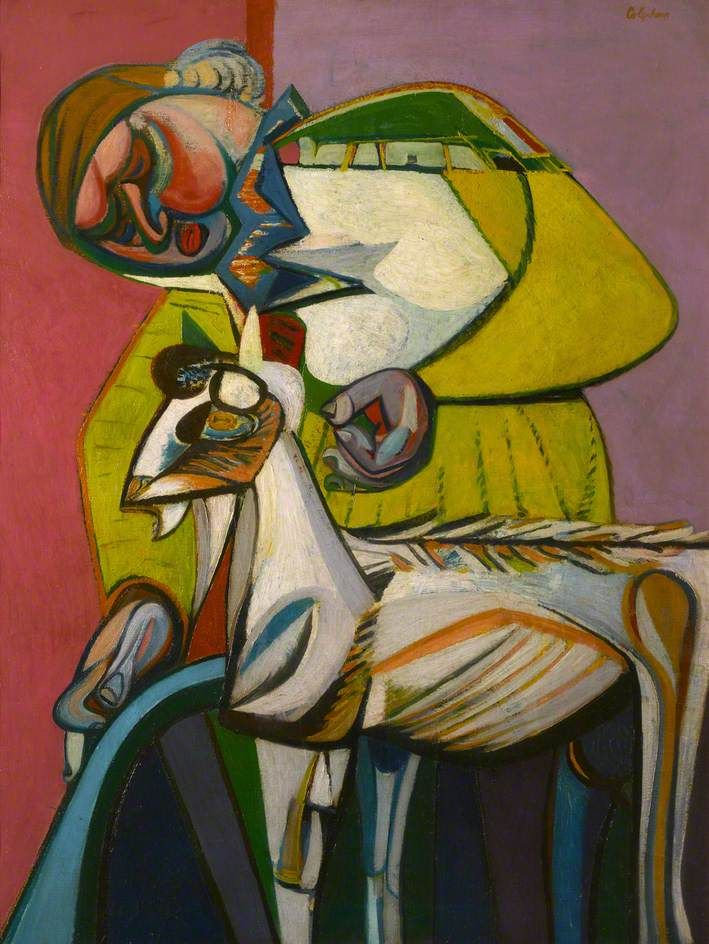 Woman with a Goat by Robert Colquhoun (Scottish 1914-1962)