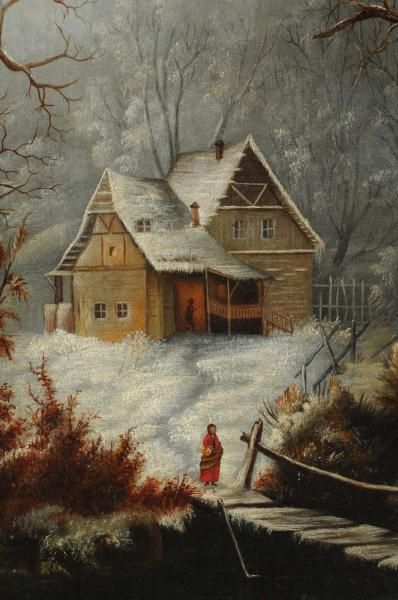 """Winter Landscape"" by George Gunther Hartwick, 19th C oil"
