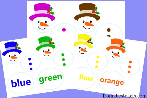 Snowman Color Matching Printables (free; from ABC's to ACT's)
