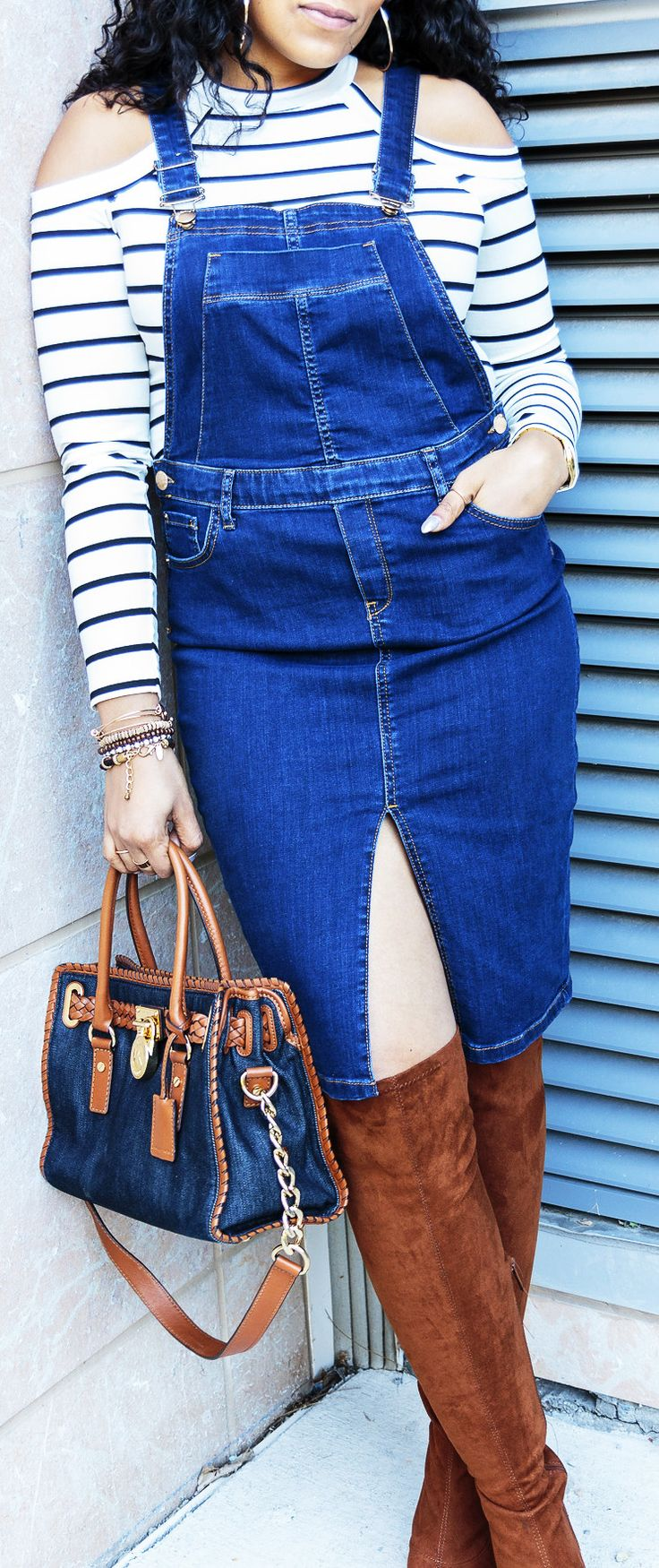 RiverIsland Overall Dress | ASOS Striped Cold Shoulder Top | Akira Chicago Over the Knee Boot | Michael Kors Denim Handbag