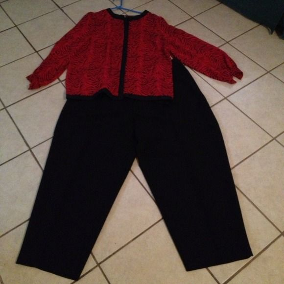 Red & Black Pant Suit This pant suit is in excellent condition. The  blouse is size 24W silk and the black pants are Elastic size 26W petite.100% polyester. Not same brand but selling as set Pants