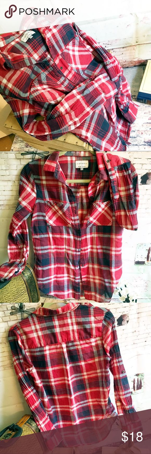 """COTTON ON Button up Top, Size Small COTTON ON Button up Top, Size Small Bright plaid top, 100% cotton, made in Australia.  Very light fabric;  wear rolled up or down.  Chest measures 18"""", sleeve length is 17"""" from underarm and length of top is 24-25"""".  Measurements are approximate. Cotton On Tops Button Down Shirts"""