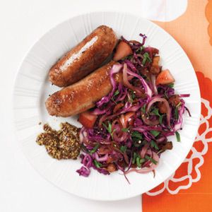 Sausage and Sautéed Red Cabbage and Apples