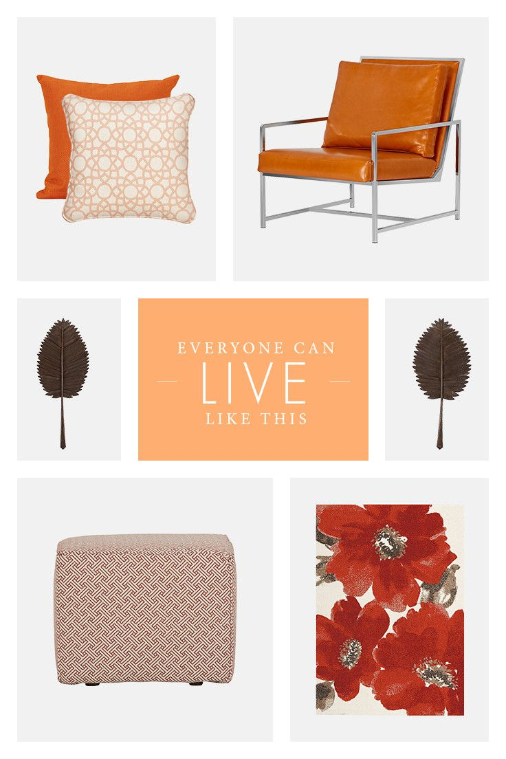 Orange is the new black! An ottoman, wall art, extra chair, or accent pillows can add the perfect splash of color where you need it most.