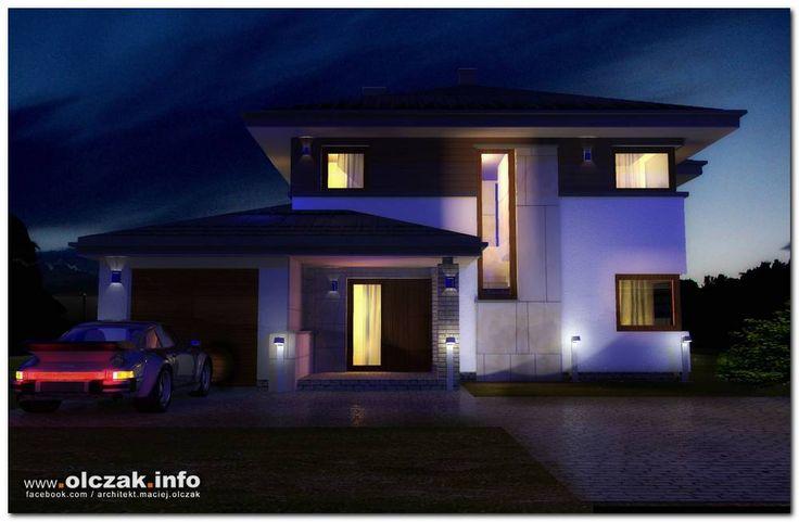 Architekt Maciej Olczak - projekt domu z kopertowym dachem