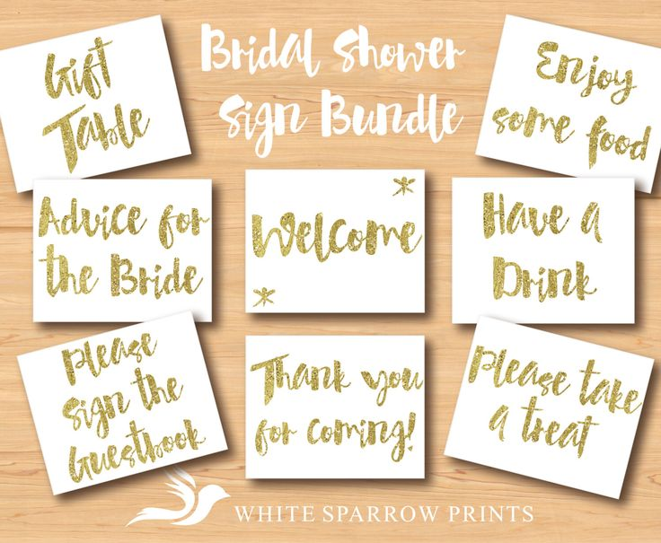 Gold Bridal Shower Signs, BUNDLE. Bridal Shower Decorations. Gold Bridal Shower. Bridal Shower Sign, signs for bridal shower, gold shower by WhiteSparrowPrints on Etsy https://www.etsy.com/listing/237381002/gold-bridal-shower-signs-bundle-bridal