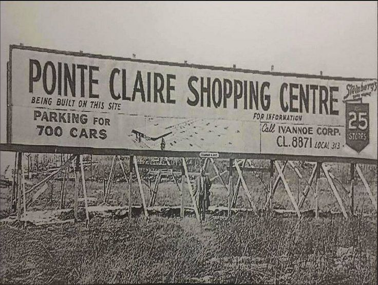 Roadside advertisement for a new shopping center in Montreal's West Island suburb of Pointe-Claire. Overwhelmed by Dorval Gardens shopping center opened in 1954, Steinberg's with its real estate division Ivanhoé Corp. got a piece of land on St-Jean Boulevard near Donegani Street, near Montreal-Toronto Boulevard. A man is standing underneath the sign in the middle, maybe one of the Steinberg brothers. Steinberg's supermarket (as shown on top right) would be the main anchor, with ...