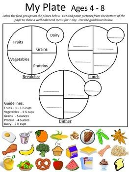 "A worksheet on the new USDA food recommendations.  After a lesson on the ""Food Plate"" students can use this worksheet to plan out a well balanced menu for one day.  This product contains guidelines and activities for each of these age groups: So make sure you only print the ones you need.4 - 89 - 1314 - 18"