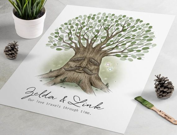 Legend Of Zelda Wedding Guest Book Deku Tree Fingerprint