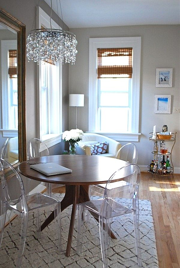 eclectic style decorating wtih lucite great for small spaces because it doesnt