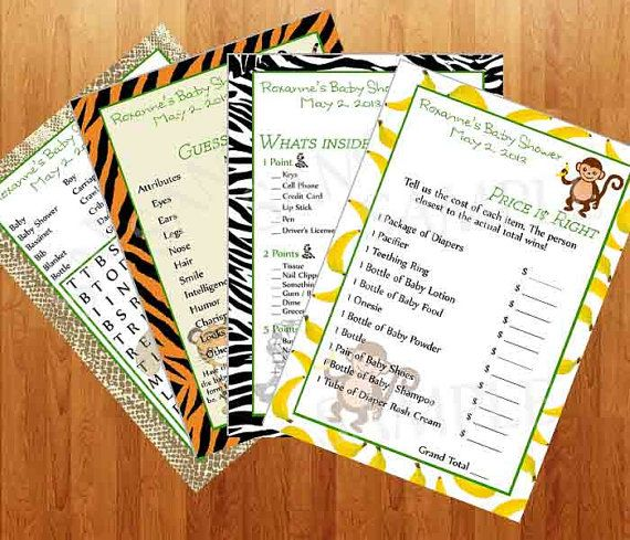 Jungle Baby Shower Games - Printable