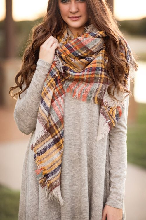 Fall Fashion, Fall Scarf, Plaid Scarf- Cute