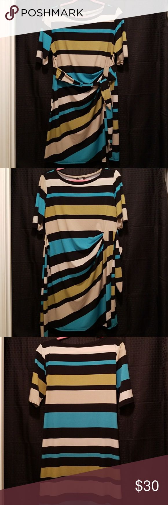 Color block sheath dress This brilliantly colored dress receives loads of compliments!  Slight ruching detail on front right side Belt can be worn in front or back Tag states Petite XL, fits ladies sizes 10-14 10 looser fit  12 ultimate fit 14 curve hugger  Stops just above knee cap MSK Dresses Midi