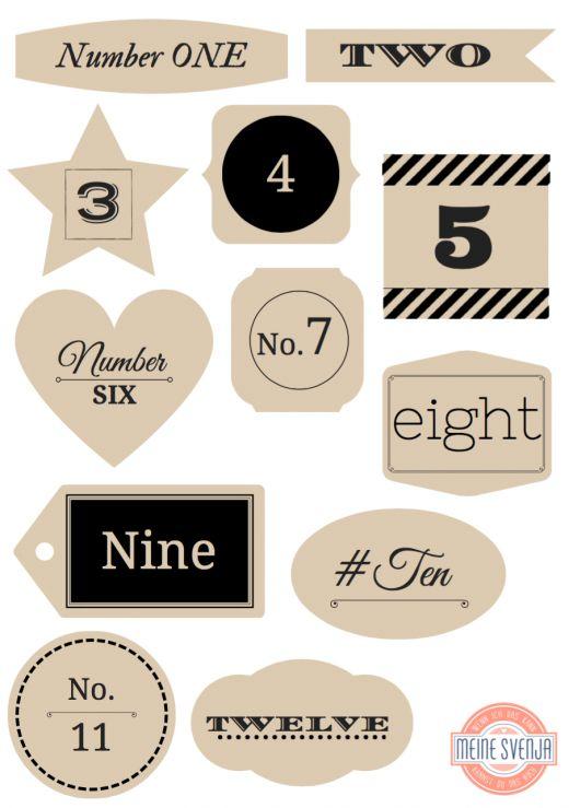 Adventskalender Zahlen zum Ausdrucken schwarze Zahlen 1 bis 12 Handlettering in beigen Formen www.meinesvenja.de