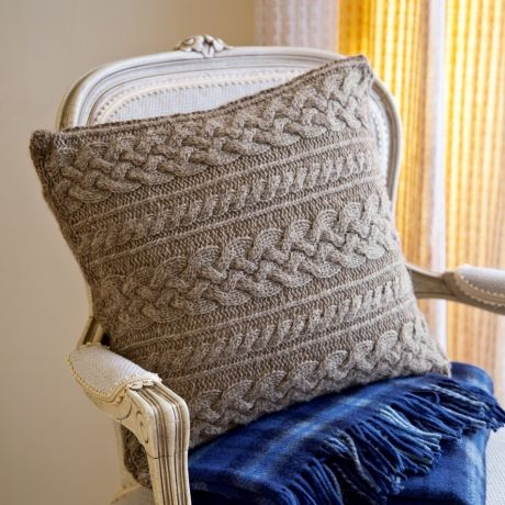 Knit pillow! Would look great thrown in with some bow pillows all in neutral colors.