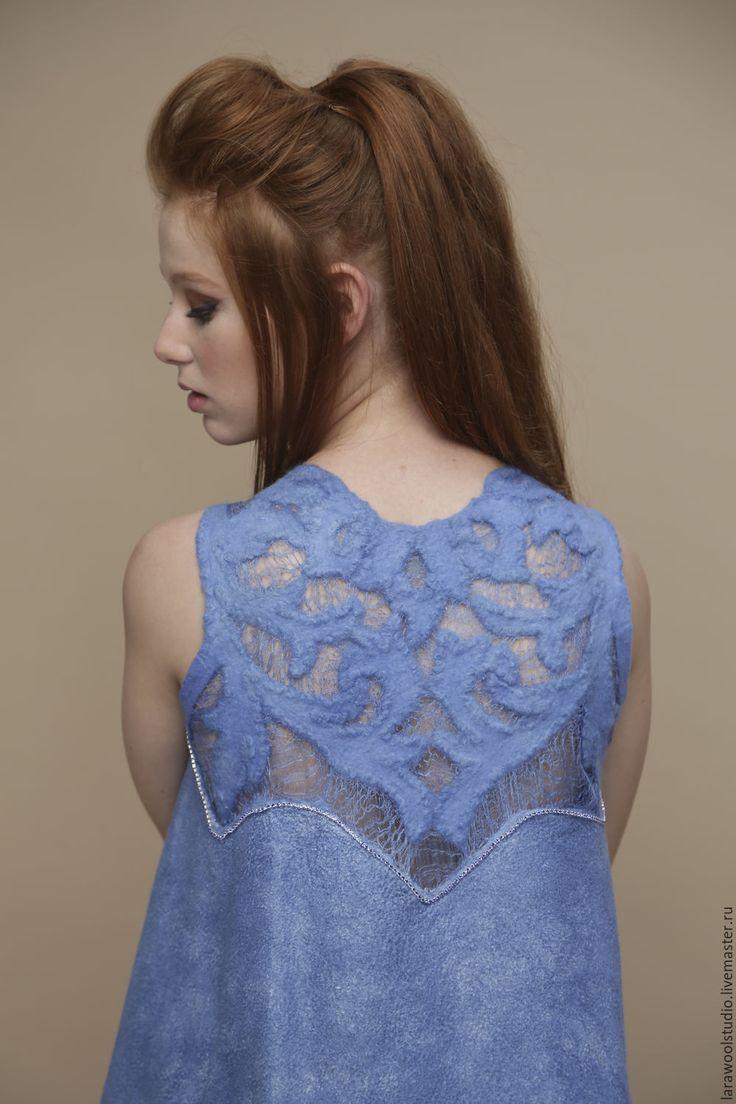 """Купить Платье с ажурной спинкой """"Голубизна"""" - однотонный, голубой, платье ручной работы, элегантное платье"""